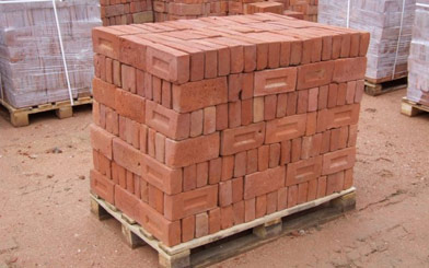 Bricks set on a pallet